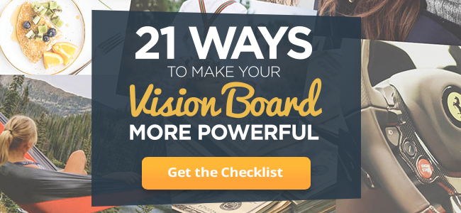 Image collage depicts visualized goals on vision board checklist, click to learn more