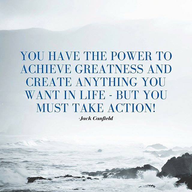you have the power to achieve greatness, take action, quote by jack canfield with rocky ocean waves