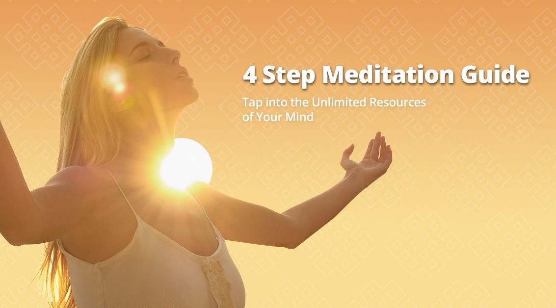 a woman with palms up uses the 4-step meditation guide